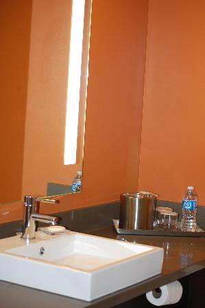 Radisson Hotel Salt Lake City Downtown: The decorator colors and vessel sink in the bathroom.