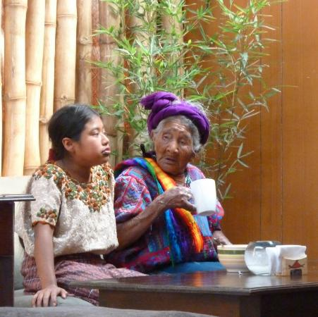 Escuintla Department, Guatemala: Mayan ladies enjoying Vietnamese Mayan fusion