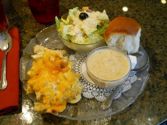 Josephine's Tea Room & Gifts: Chicken Salad Pie, Caesar Salad, Lobster Bisque & a Roll