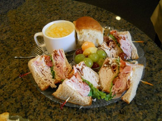 Josephine's Tea Room & Gifts: Josie's Stacked Club, Fruit Cup, Cheese Broccoli Soup & a Roll
