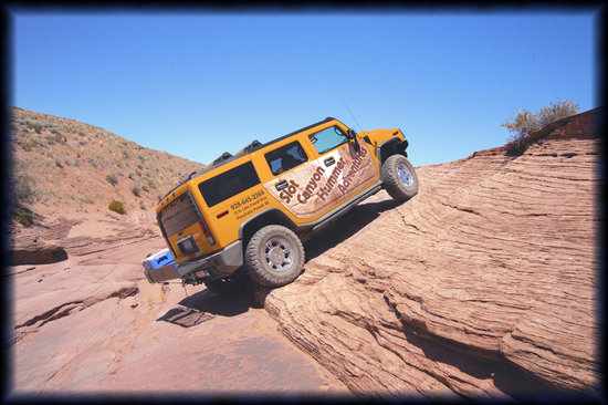 Slot Canyon Hummer Adventures : The amazing Hummer acsending out of the canyon.