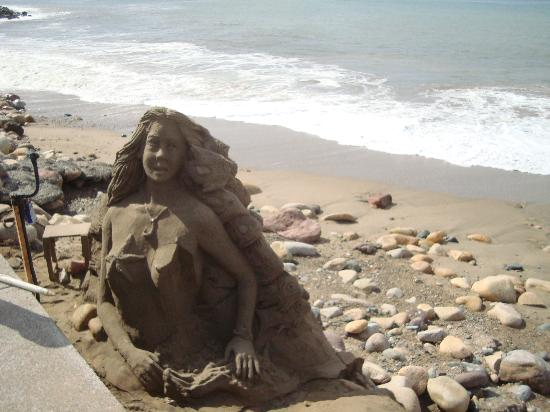 Velas Vallarta: Mermaid sand sculpture along Malecon