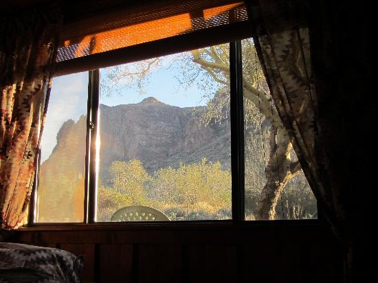 Meanwhile Back at the Ranch: View of Superstition Mountain for the bed.
