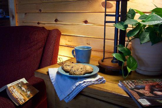 Kickapoo Valley Ranch Guest Cabins: A perfect spot to cozy up with the best coffee & cookies ever!