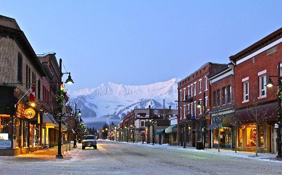 Historic Downtown Fernie with Fernie Alpine Resort in the background