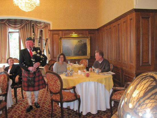 George V Dining Room: Playing the pipes in the George V Room