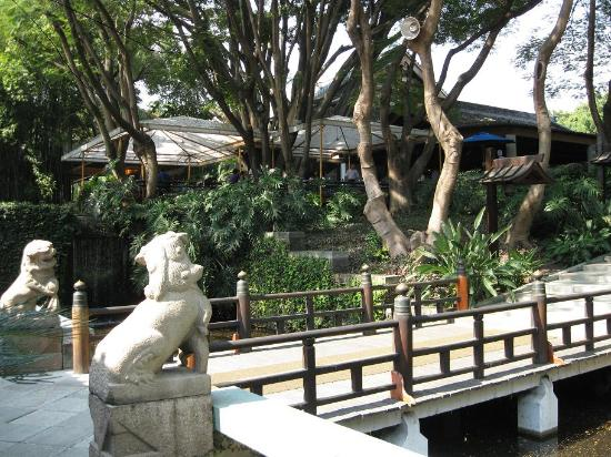 Garden area of Sumiya with outdoor breakfast area in background