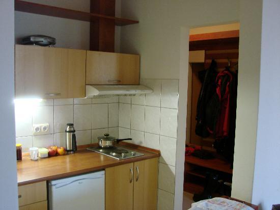 Hotel Relax Apartman Sarvar : kitchen in our room