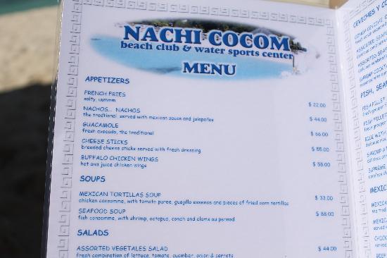 Menu Picture Of Nachi Cocom Beach Club Amp Water Sport