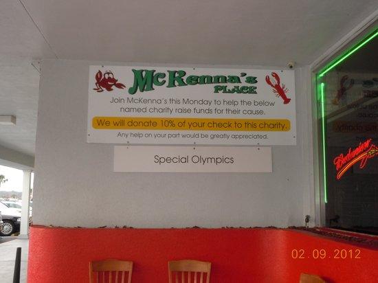 McKenna's Place: allways doing their part......