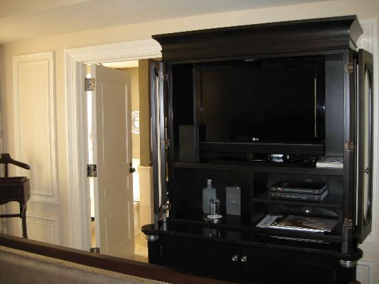 The Jefferson, Washington DC: The TV and cabinet.  Room furniture was specially made for this hotel.