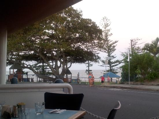 Cafe By The Beach: View of the beach from our table in the alfresco area