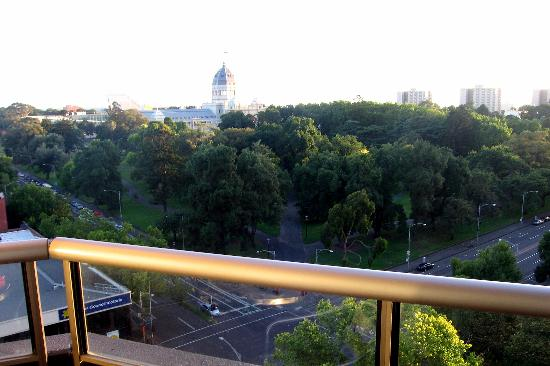 Mantra on the Park: View from balcony overlooking Carlton Gardens and the Exhibition Building