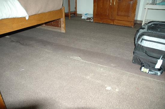 Kumudara Hotel Bagan : Dirty carpet coming off the floor