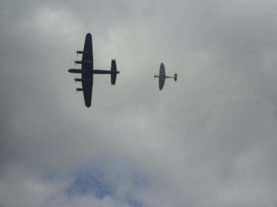 The Victory Show: Lancaster and Spitfire in magnificent formation...the size and noise of the Lancaster...unbeliev