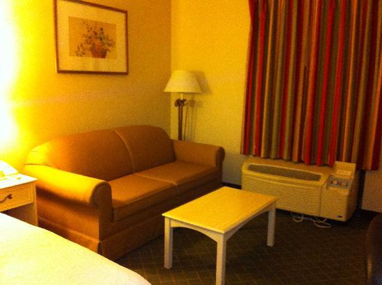 Hampton Inn Winchester-University/Mall Area: Nice sofa provided extra room for laying clothes out, etc