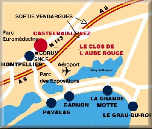 Le Clos de l'Aube Rouge : Map