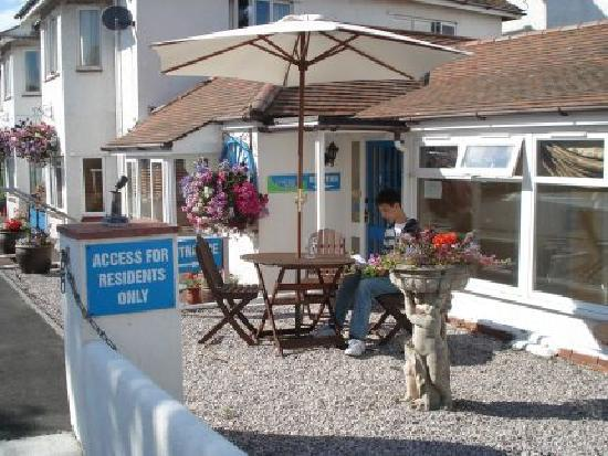 Lyme Bay House: Beer Garden and door to reception