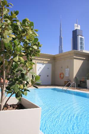 View from the roof top pool to the Burj Khalifa
