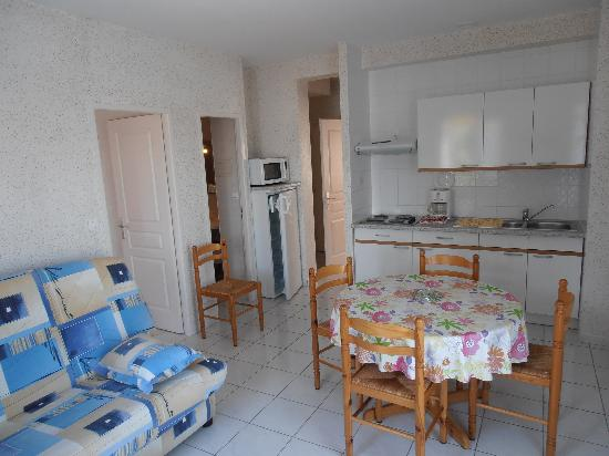 Hotel Residence Les Flots : séjour et coin cuisine