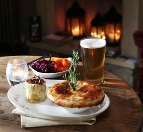The George Hotel: george pie with a pint of old spot beer (brewed by the georges owner)