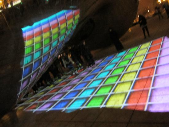 Millennium Park: Colored lights.