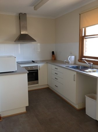 Esk Apartment: new kitchen with plenty of supplies and storage