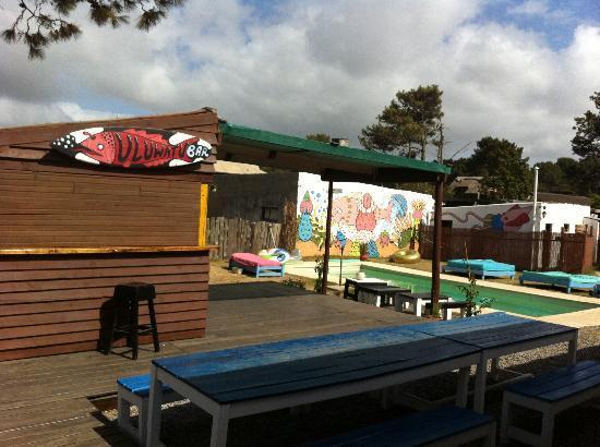 El Viajero Manantiales Beach Hostel: Outside pool & bar area