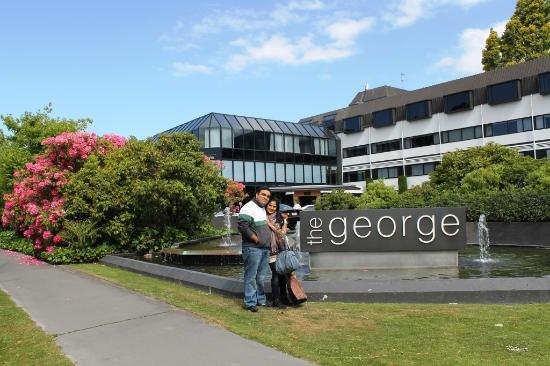 The George Christchurch: Just outside the hotel with my wife