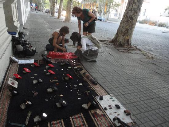 Avenida General Flores: Jewelry vendors on Flores