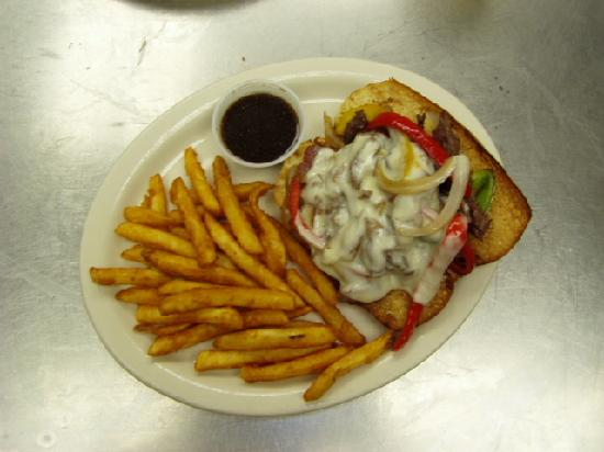 Hopkins Icehouse: Ribeye Philly Cheese with Fries