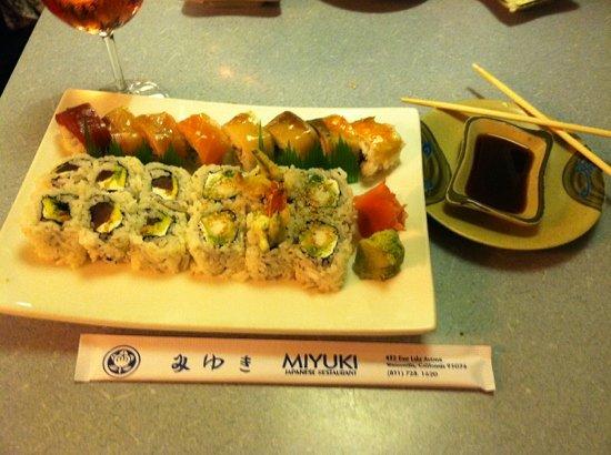 Miyuki Restaurant: rainbow roll, shrimp tempura roll, and dragon roll