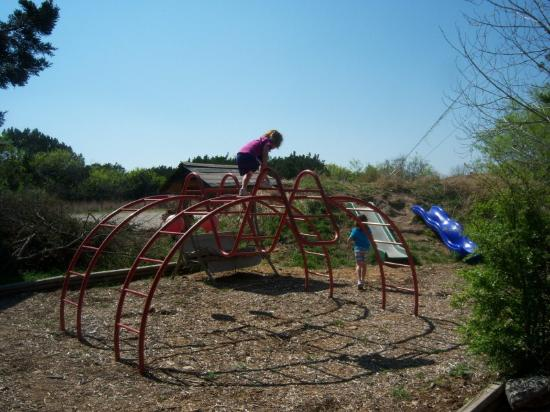 Dinosaur Trail Cabins and Cottages: playground in Jurasic cabin backyard