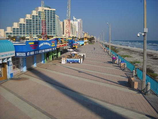 Daytona Beach, FL: view of whole boardwalk from bridge by beach entrance