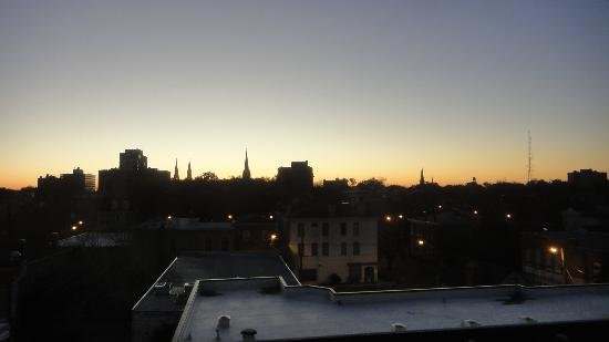 B Historic Savannah: View of city's steeples at sunrise.