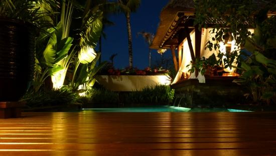 The St. Regis Bali Resort: Backyard of Villa 707 at night