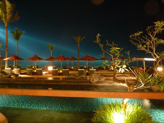 The St. Regis Bali Resort: view from the restaurant at night