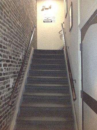 Hotel Brandwood : Rear Entrance stairs (1st flight) looking up