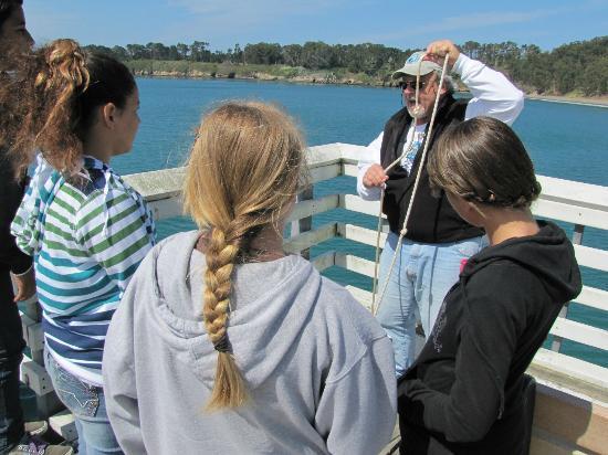 Coastal Discovery Center at San Simeon Bay (Monterey Bay NationalMarine Sanctuary): A local school group doing pier oceanography.