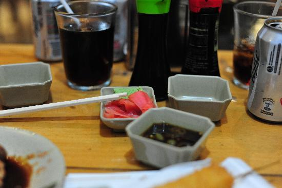 Sushi Ken: Choice of soy sauces ...