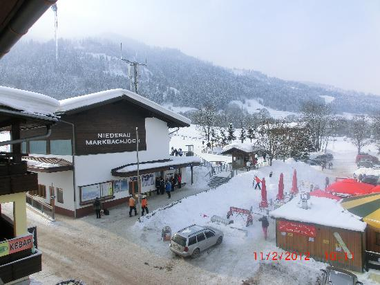 Wildschonau, Austria: View from room, Gondola station on the right