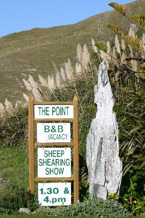 The Point Bed and Breakfast: Road sign