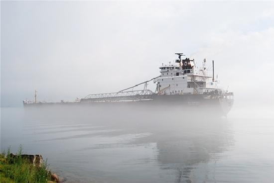 Sault Ste. Marie, MI: Freighter in the Fog on the St. Mary's River