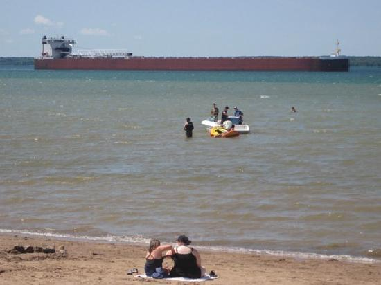 Sault Ste. Marie, MI: Sherman Park Beach Swimming with the Freighters