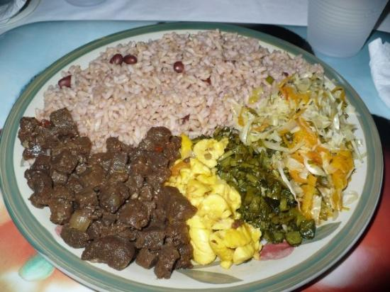 Royal Kitchen Vegetarian Café : What I ate: peas & rice, ackee, cabbage and veggie (soy) chunks