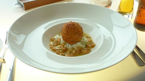 "Photo: ""Crispy Salt Cod Brandade with celeriac puree, potato & chive ..."