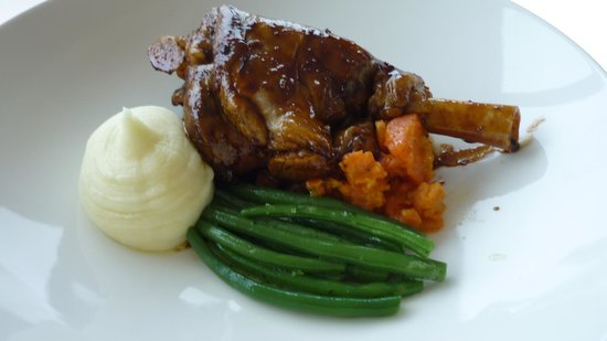 Braised Lamb Shank, mashed potato, green beans and crushed ...