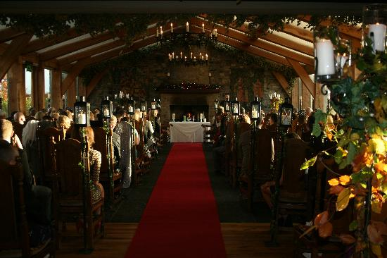 Barberstown Castle: Civil Ceremony room complete with red carpet + lanterns
