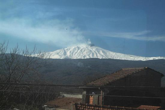 Circumetnea Railway: Etna from train