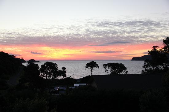 Manuka Lodge: Sunset from lodge deck